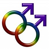 picture of gay symbol  - Two male gender symbols in LGBT flag colors isolated on white with copy - JPG