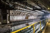 stock photo of underground water  - Out of Underground Tunnel with Water for passage and repair submarines - JPG