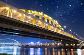 image of iron star  - Night scene of bridge under stars in Taipei - JPG