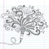 stock photo of singer  - Microphone Music Back to School Sketchy Notebook Doodles Illustration with Palm Shooting Stars and Music Notes - JPG
