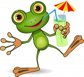 stock photo of glass frog  - illustration of cheerful frog and a cocktail - JPG