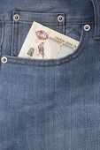 stock photo of dirham  - Denim jeans pocket with five hundred dirhams - JPG