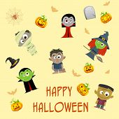 foto of wolfman  - easy to edit vector illustration of Halloween patterned background - JPG