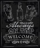 pic of drawing beer  - vector chalk beer on chalkboard background - JPG