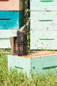 pic of bee keeping  - Closeup of bee smoker on crate at apiary - JPG