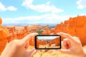 stock photo of hoodoo  - Smartphone taking photo of Bryce Canyon nature - JPG