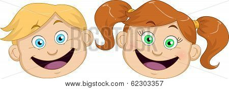 Cute Boy And Girl Heads Smiling