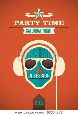 Modern party time poster. Vector illustration.