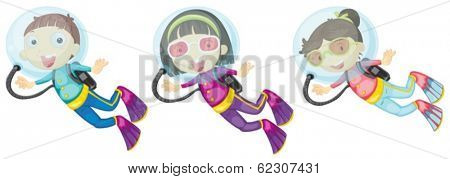 Illustration of the three scuba divers on a white background