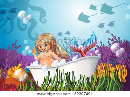 Illustration of a bathtub under the sea with a mermaid
