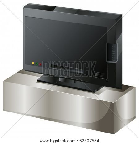 Illustration of a flat screen television on a white background