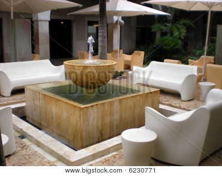 Luxurious Contemporary Patio with Fountain