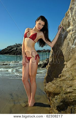 Bikini Model posing sexy in front of rocks