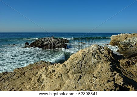 Oceanside beach and rocks