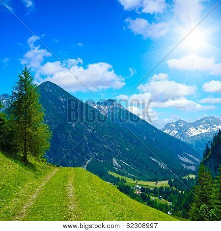 alpine trekking path
