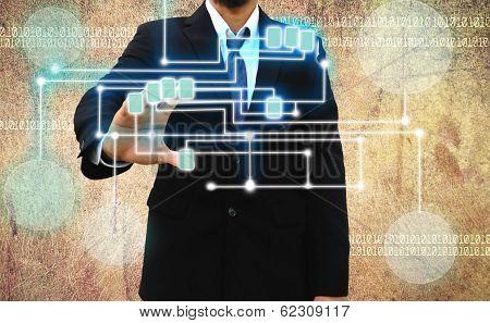 Businessman Scanning Of A Finger On Grunge Background