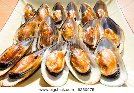 Smoked Mussels On A Platter