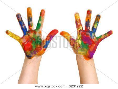 Kindergartner Rainbow Malerei handgemalte Hände