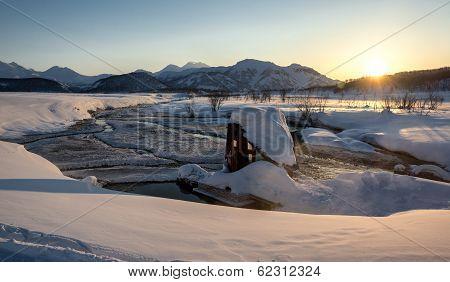 Nalychevo Nature Park At Sunrise. Kamchatka, Far East, Russia
