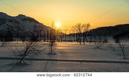 Nalychevo Nature Park At Sunrise. Kamchatka Peninsula, Far East. Russia