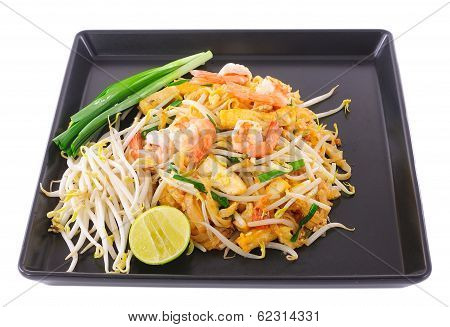 Thai Food Pad Thai , Stir Fry Noodles With Shrimp On Black Plate