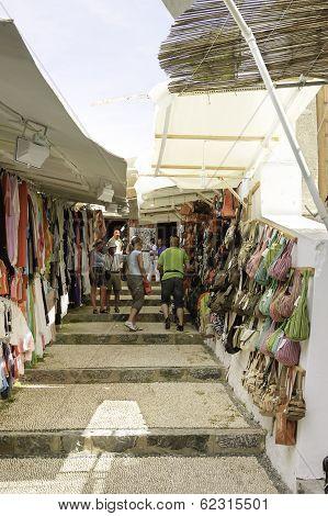 Street Scene In Lindos Village, Greece