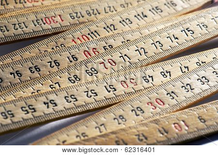 Background Of Wooden Meter Rulers