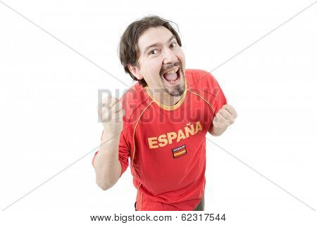 happy spanish man supporter, isolated on white