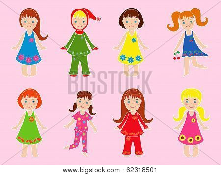 Eight Small Girls In Various Garments