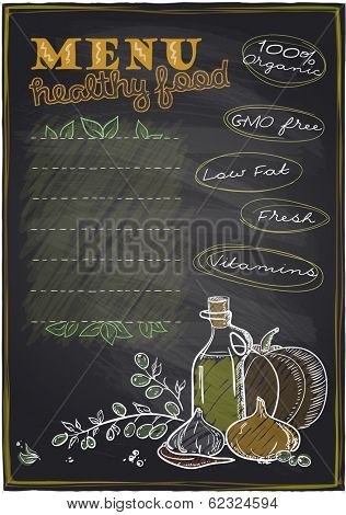 Chalkboard healthy food menu background with place for text. Eps10