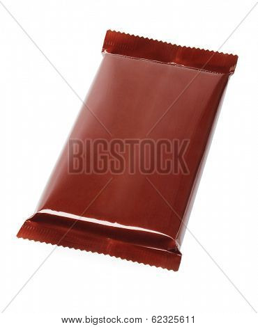 Chocolate Bar In Plastic Wrapping on White Background