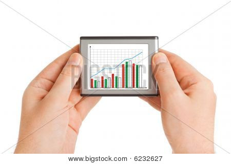 Hands With Screen And Business Diagram