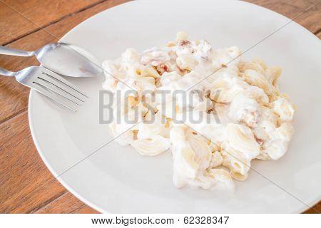 Closeup Macaroni With Pork Ball And Ham Cheese