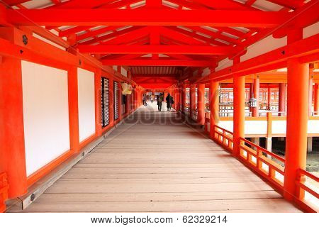 Wooden Path In Red Shrine