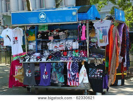 Street souvenirs vendor cart in Manhattan