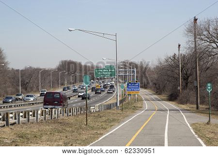 Belt Parkway with bicycle and pedestrian path or Greenway in Brooklyn