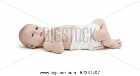 Baby In Diaper Isolated On White Background