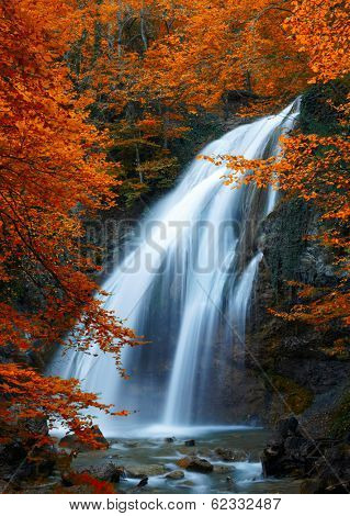 Beautiful Waterfall. Autumn