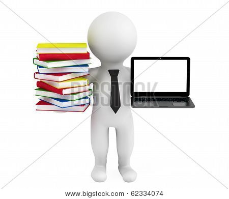 3D Person Holding A Laptop And Books