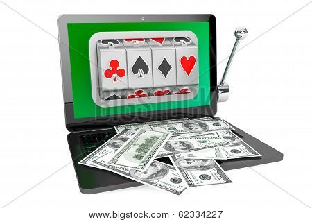 Slot Machine Inside Laptop With Dollars