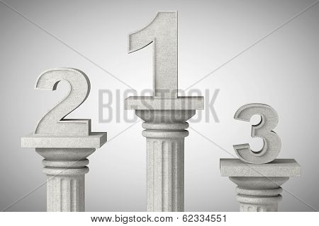 Numbers One, Two And Three Over Classic Column
