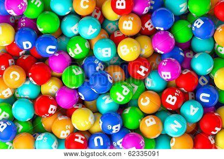 Heap Of Closeup Color Vitamins Sphere