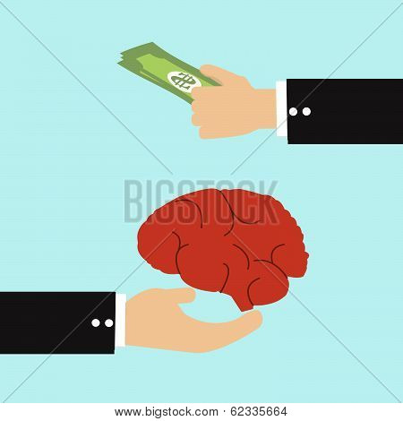 Businessman Transfer Money With Brain, Human Idea Concept.