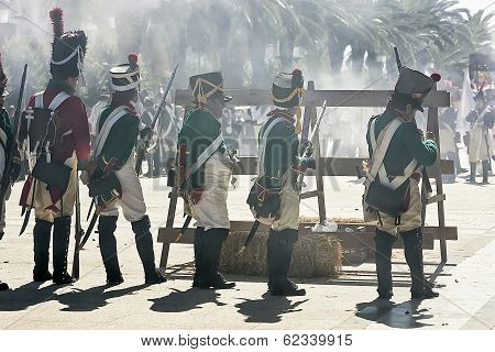 French Soldiers Firing From A Barricade During The Representation Of The Battle Of Bailen, Bailén  J