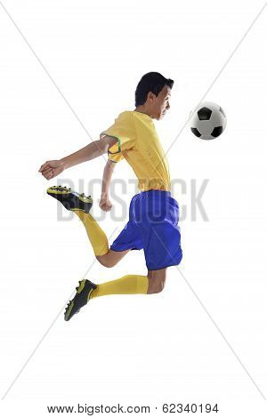 Soccer Player Controlling Ball Isolated