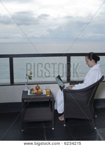 Woman Balcony Sea Hotel