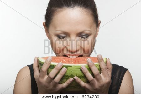 Woman Holding Watermelon