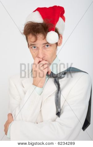 Portrait Of Man In Christmas Hat