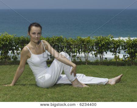 Woman Yoga Seaside