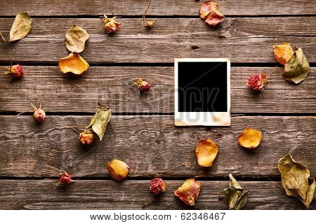 Blank instant photo with roses and petals. On old wood background.